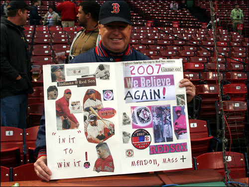 Phil Dunlavey from Mendon was here with a sign for Game 1 of the ALDS series with the Angels , and he was back for Game 1 of the ALCS with some fresh messages in support of the Red Sox. Phil also has a Red Sox shrine in his home that was featured on a Boston television station this week.