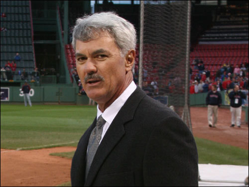 Former Red Sox right field legend Dwight Evans was warmly dressed for a television appearance before Game 1. Dewey was a member Red Sox playoff teams in 1975, 1986, 1988, and 1990.