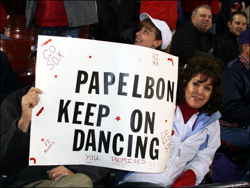 Michelle, from Walpole, wants Jonathan Papelbon to keep on dancing through the playoffs. And the underwear and Bud Light box on the head is fine with her too.