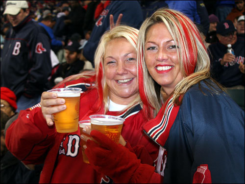 Jessamy Finet, who was in the movie 'Fever Pitch' took in the game with her partner-in-crime Erin Nanstad, who appeared with Finet in 'Still We Believe, The Boston Red Sox Movie.' The pair put red streaks in their hair for some Game 1 fun.