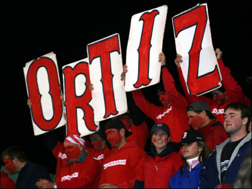 The K-Men broke out the Ortiz sign for Big Papi, who was perfect on the night, going 2-2 with two walks.