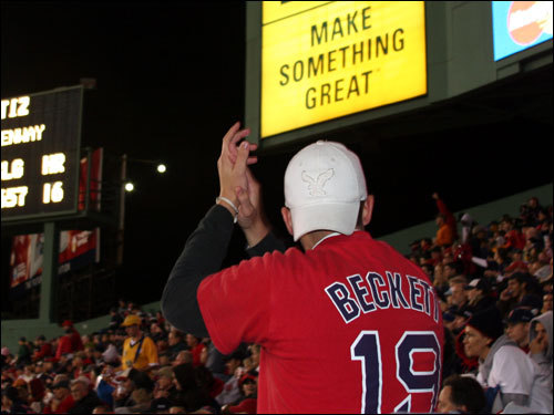 This fan was happy to give a hand to Sox starter Josh Beckett, who gave up two-runs in six innings of work on the night.
