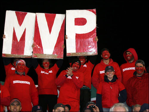 The K-Men broke out the MVP sign when Mike Lowell stepped to the plate. Lowell drove in three of the Red Sox 10 runs on the night.