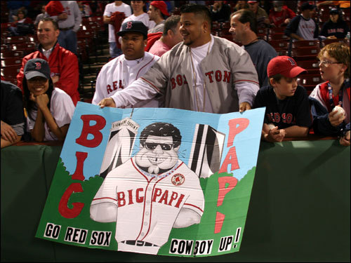 Junior Espada (right) , from Taunton, spent all day creating his props to Big Papi sign. Espada was confident there would be a Game 7 before Game 6 started. 'We're coming back tomorrow,' Espada said.