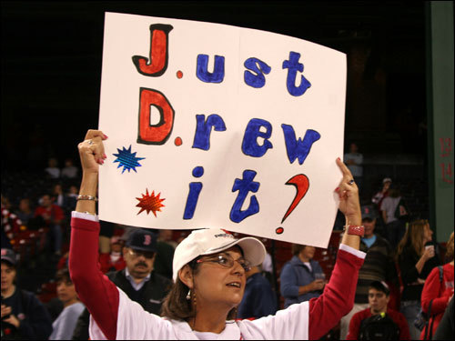 Juanita Phillips, from Worcester, was asked if she had been rooting for J.D. Drew prior to his Game 6 grand slam the night before. She replied, 'Was anybody?'