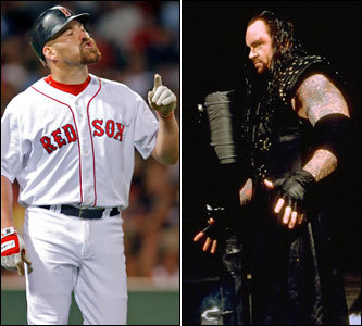 Current job: Red Sox first baseman Could have been: Professional wrestler He's tough. Wears his emotions on his sleeve. Likes to bodyslam bats, helmets, and protective gear. Youk has the attitude, temperament, and toughness to mix it up in the ring with the likes of the Undertaker.
