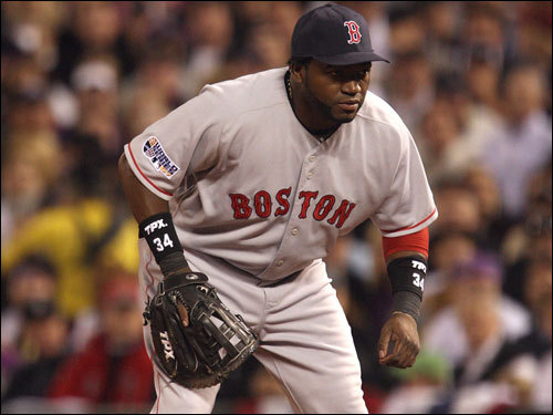 David Ortiz was making his second consecutive start at first base for the Red Sox.