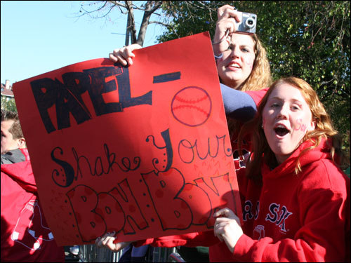 Papelbon took singer Ricky Martin, and this sign-makers advise, and shook his bon-bon for most of the trip to City Hall Plaza.