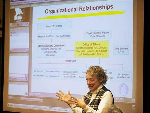Christine Mitchell, RN, director of the Office of Ethics at Children's Hospital Boston (CHB).