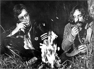 Dennis Hopper (right) and Peter Fonda in the 1969 film 'Easy Rider.' For his role, Hopper embraced a very relaxed, David Crosby-style mustache. <!-- // define variables var date = new Date(); var current_time = date.getTime(); // write SCRIPT tag to browser document.writeln(' '); // -->