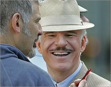 To be a creeping inspector, you need a creepy mustache. Hence, Steve Martin's Inspector Clouseau-stache for 'The Pink Panther,' which required a quick grooming while filming in Copley Square in 2007. <!-- // define variables var date = new Date(); var current_time = date.getTime(); // write SCRIPT tag to browser document.writeln(' '); // -->