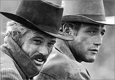 Robert Redford (left) sported this old-time mustache in ''Butch Cassidy and the Sundance Kid,' opposite a 'stache-less Paul Newman. <!-- // define variables var date = new Date(); var current_time = date.getTime(); // write SCRIPT tag to browser document.writeln(' '); // -->