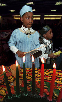 One candle is lit each day from Dec. 26 to Jan. 1, usually by the children of the family. The first night, the black candle at the center of the kinara is lit and the first principle, unity, is discussed.
