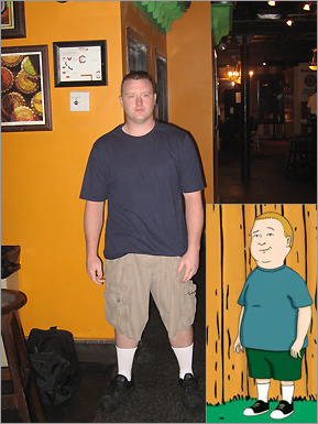 Phil Luongo, on behalf of Hennessy's Pub second floor, said Hennessy's dedicated barback, Greg Mitchell, looks like Bobby from 'King of the Hill.' <!-- // define variables var date = new Date(); var current_time = date.getTime(); // write SCRIPT tag to browser document.writeln(' '); // -->