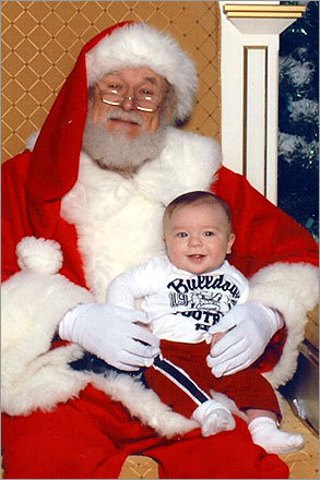 Six-month-old Rocco, of Canton, and Santa at the Hanover Mall.