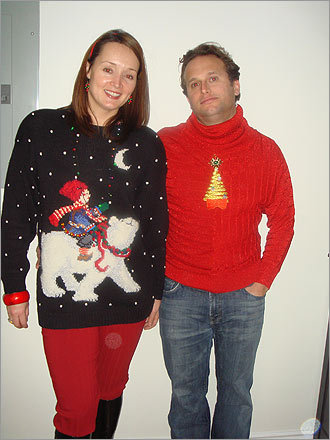 Kim and Dave Giangrasso, of Boston, make the perfect couple of sweater lovers.