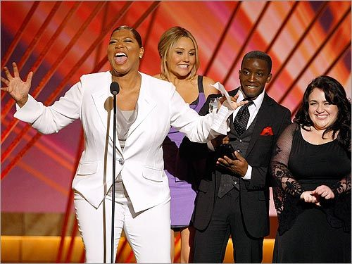 Queen Latifah, Amanda Bynes, Elijah Kelley, and Nikki Blonsky