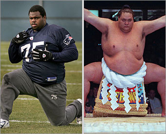 Current job: Defensive lineman Could have been: Sumo wrestler Tipping the scales at 325 pounds, the 6-foot-2-inch defensive lineman is as nimble as a ballerina and as strong as an ox. He could wreak havoc in the World Sumo League using the spry moves he puts on opposing offensive lineman.