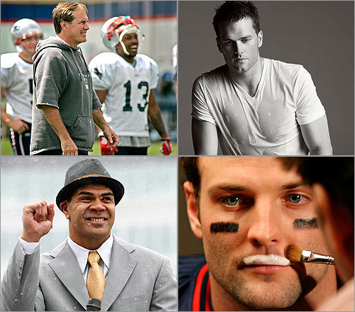 With their 18-0 record, the Patriots seemed nearly invincible this season, bludgeoning their opponents in the early games and cobbling together victories in the latter. On the style front, however, they weren't always so winning. Tom Brady's impeccable suits aside, the team definitely dropped the (sartorial) ball a few times, whether it was the return of Bill Belichick's grey hoodie, or Randy Moss's inexplicable Superman jammies. Here's a look at the good, the bad, and the baby. Roll highlights. --COURTNEY HOLLANDS and HAYLEY KAUFMAN