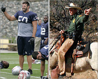 Current job: Linebacker / Tight end Could have been: US Border Patrol agent On the football field, Mike Vrabel specializes on both sides of the border, also known as the line of scrimmage. He makes the big plays on defense, leading the team with 12 sacks during the 2007 regular season. And on the other side of the ball, you can count on him for an automatic touchdown as a tight end, catching two this year and eight in his career. How's that for border control?