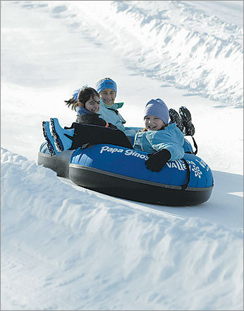 6. Go downhill, this way. Tubing is becoming bigger and bigger on New England slopes.