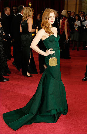 Solids, such as Amy Adams's deep green Proenza Schouler, were subtle statements against prints and patterns.