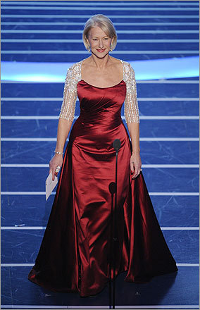 Helen Mirren's custom-made gown had odd glittering granny sleeves that looked as if they were sewn on by mistake.