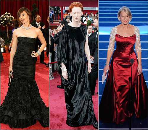 The good, the bad, and the...huh? Globe style writer Christopher Muther sizes up the red carpet fashion from the 80th Annual Academy Awards, from smoldering frocks that matched the color of the rug to Tilda Swinton's 'velvet potato sack' fashion.