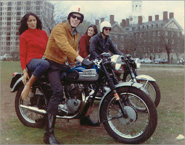 Some of the musicians left the club to take a motorcycle ride. From left: Joan Baez, John Cooke (of Charles River Valley Boys), Marcy Scher, and Brad Meyer.