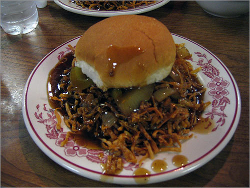 3. The chow mein sandwich A delicacy favored in some New England Chinese restaurants, such as in Woonsocket, R.I., and the Oriental Chow Mein Company (pictured) in Fall River, Mass.