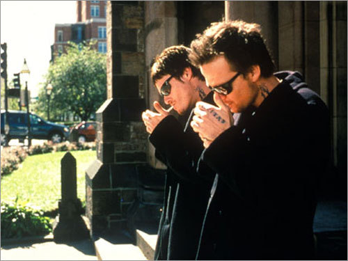 The Boston-Irish Connection Boondock Saints (1999) stars Sean Patrick Flanery (right) and Norman Reedus as Connor and Murphy McManus, twin brothers who take it upon themselves to rid Boston of violent gangsters by any means possible. Willem Dafoe stars as the comedic and quirky FBI agent tracking the brothers' trail of destruction. Also in this category: 'Blown Away' (1994), 'The Matchmaker' (1997), and 'The Departed' (2006).