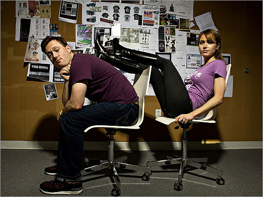 Karmaloop founder Greg Selkoe and his wife, Dina, the company's creative director, in their Boston office.