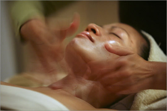 For customer Kim Holt, treatment for the neck and chest begins with steam at Exhale Mind Body Spa in the Back Bay.