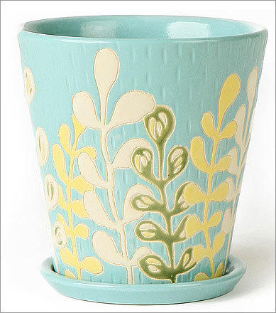 Singaraja Pot , $28 Available at Anthropologie Anthropologie.com This handmade vessel displays modern fronds set against serene aqua, a pattern that would coordinate nicely with succulents.