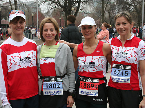 Representing Ontario, Canada, Nancy Coakley, 50, and Nancie Gibson, 47, both of Trenton, N.J., are running with Diane Kent, 45, of Belleville and Janet Adams, 45, of Combermere, Ontario. This is the first Boston Marathon for all of them.
