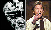 Denis Leary while attending Emerson College (left); performing onstage