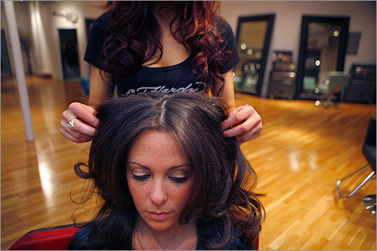 Dawn Curry gets some curls at Shag in South Boston.