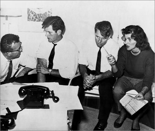 Left to right, during the 1960 presidential election, in which Jack Kennedy narrowly defeated Richard M. Nixon, Kennedy staffer Larry O'Brien, Ted Kennedy, Robert Kennedy, and Patricia Kennedy. Ted's first high-profile political job was managing Jack's 1958 Senate campaign.