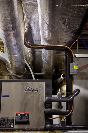 The basement features geo-thermal heat pumps, though they don't get much use. Goldman says all winter her family only used the first floor's radiant heating system to warm the entire house. They never turned on the geo-thermal blowers. 'We were very comfortable,' she said.
