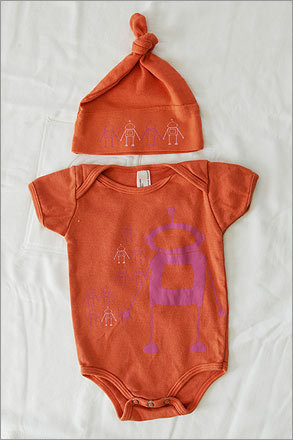 Don't let your little one's head get cold! Try a onesie and matching hat.