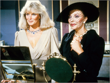 Linda Evans, left, and Joan Collins