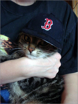Roman Kogler from Germany/Bavaria, living in a city called Roth, sent in this photo of his cat, Pepper Ann, in his girlfriend Ronja's arms. Kogler says he wanted 'to show that also in Germany are Red Sox fans. Though we love Boston, too.'