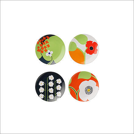 Late-for-Dinner Plates , $24/set of four, from Anthropologie, anthropologie.com Sayonara, Styrofoam. Step aside, paper. These punchy, mod melamine dishes are festive and totally reusable. Wash, rinse, repeat.