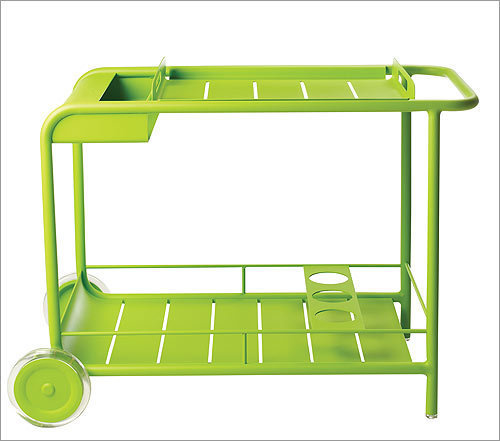 Luxembourg Bar Cart , $650, from Conran Shop, conranusa.com Yes, it's a splurge. But this aluminum cart, in on-trend apple green, is a real showstopper. Whistle while you wheel around cold beers and mojitos and it'll become the adult equivalent of an ice cream truck.