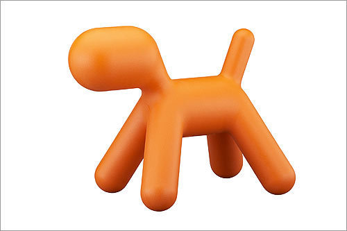 Puppy , $89.95, from CB2, cb2.com Not a fan of simply decorative sculptures? CB2's orange polyethylene pooch – reminiscent of Jeff Koons' balloon dogs – is also a foot rest.