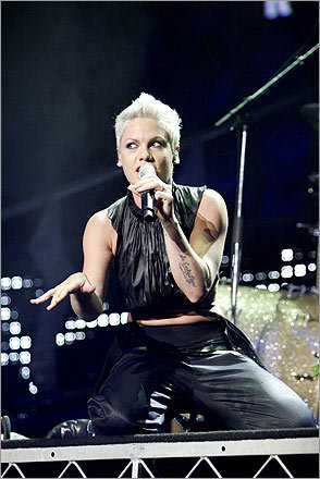 Not just for the guys: Singer Pink performed during her 2007 'I'm Not Dead' tour in Sydney with a mean 'hawk.