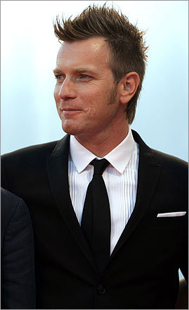 Serious fauxhawk alert: Ewan McGregor spiked up his hair for a photo shoot with his co-stars of 'Cassandra's Dream' at the Venice Film Festival.