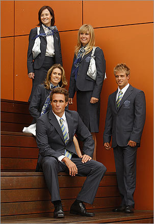 Coffee, tea, or bronze? When the Australian team is finished competing in the Olympics, they can easily transition into careers as flight attendants thanks to these suits by Sportscraft. The subtle pinstripe represents the Australian coastline. But listen closely, and it seems to be saying 'please make sure your seat is in the upright position.'