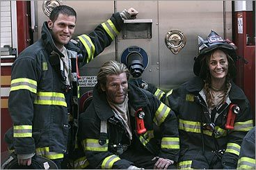 Steven Pasquale, Denis Leary and Diane Farr on 'Rescue Me'