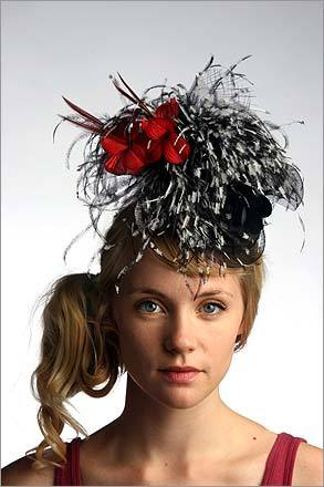 Black and white ostrich with red flower on horsehair. $135. GALVIN-ized Headwear, South End. 617-426-4885. galvinized-hats.com